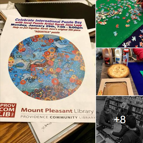 Puzzle and pie happy hour